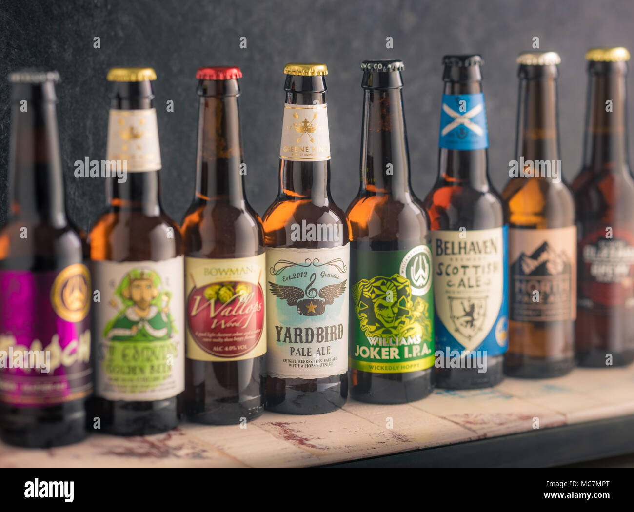 Collection of small independent brewery craft beers in bottles - Stock Image