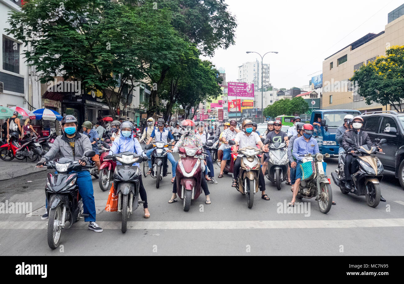 Congested traffic mostly of motorcycles on a main street of Ho Chi Minh City, Vietnam. - Stock Image