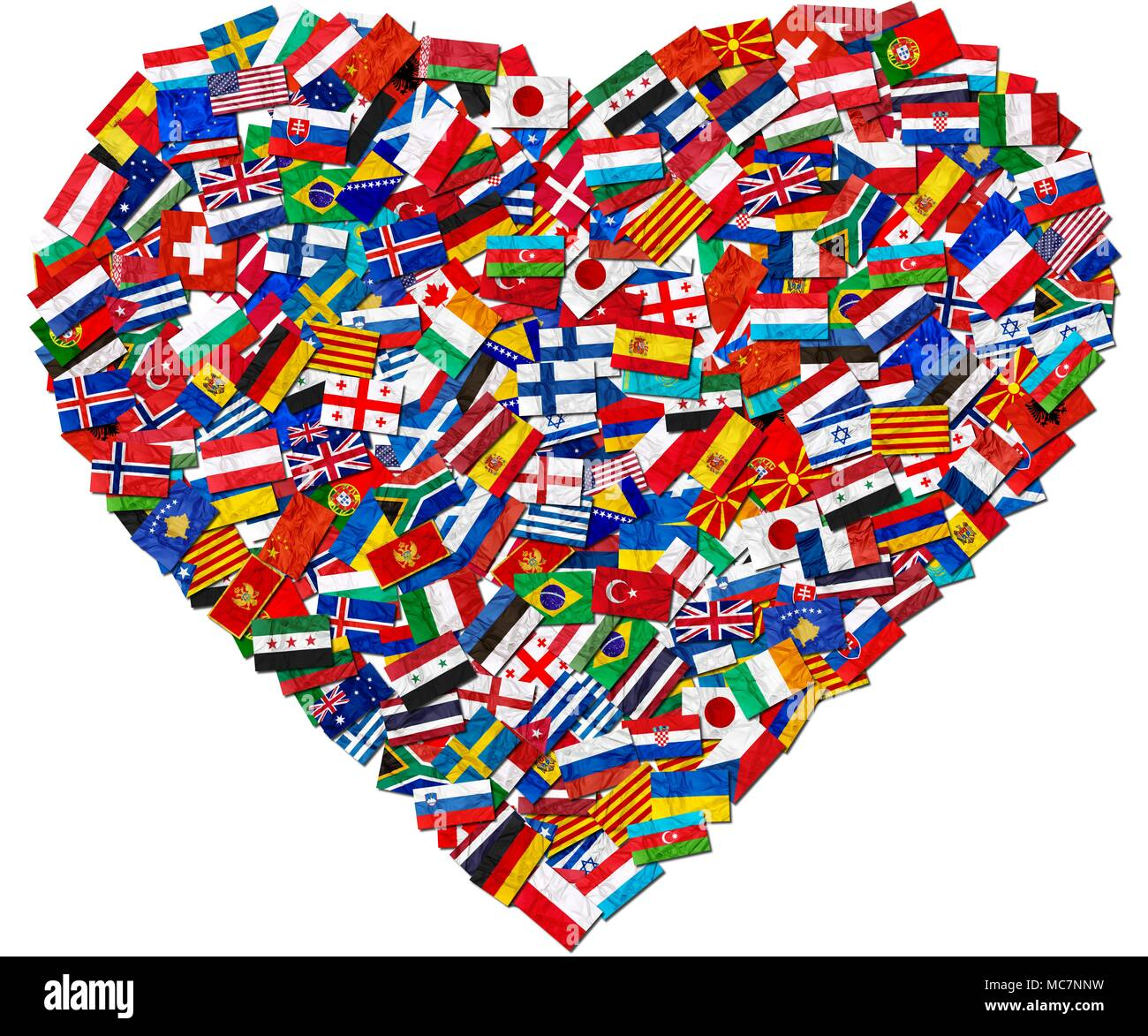 Flags of world countries and in heart love shape on white background: England Russia Italy Spain Scotland Germany US, China Greece France Brazil Japan