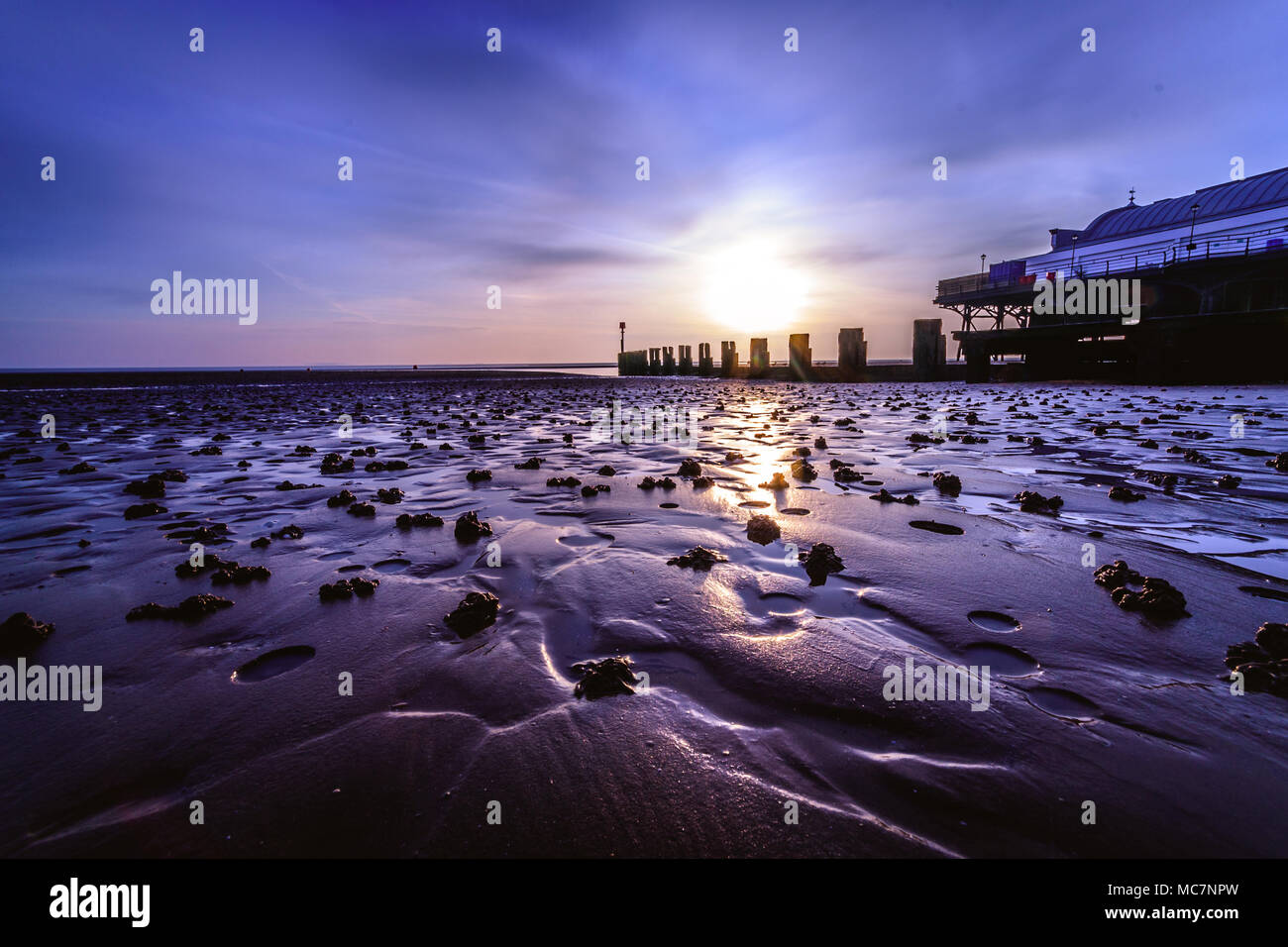 Cleethorpes Pier at Sunrise - Stock Image