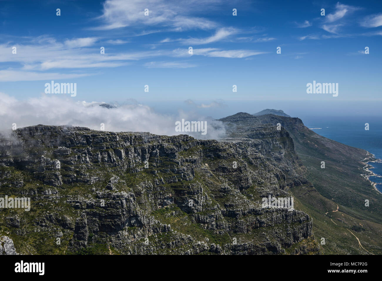 Orographic clouds sitting on the top of Table Mountain, South Africa - Stock Image