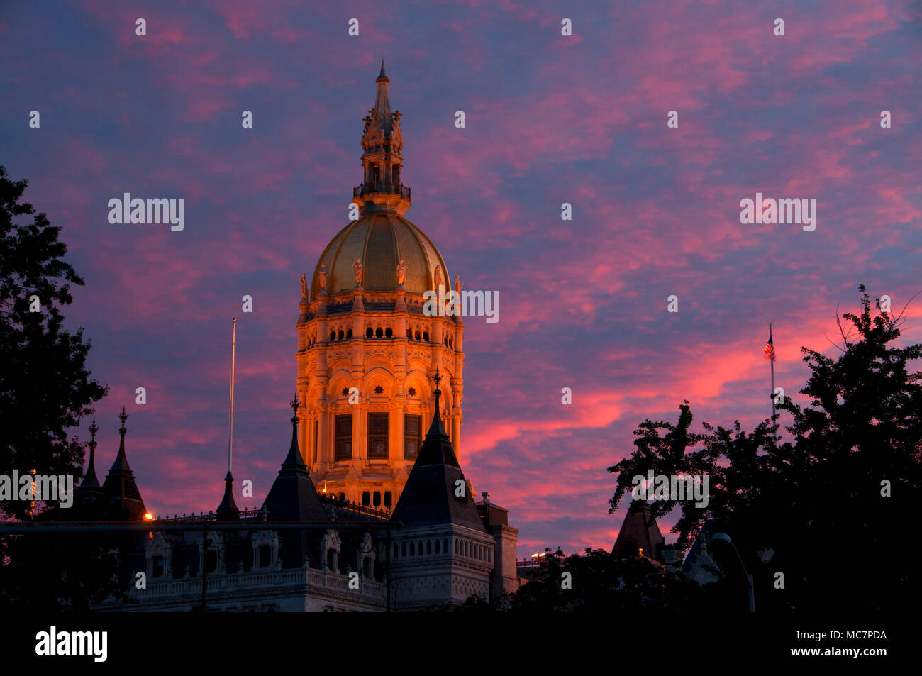 State Capitol dome sunset, Hartford, Connecticut - Stock Image