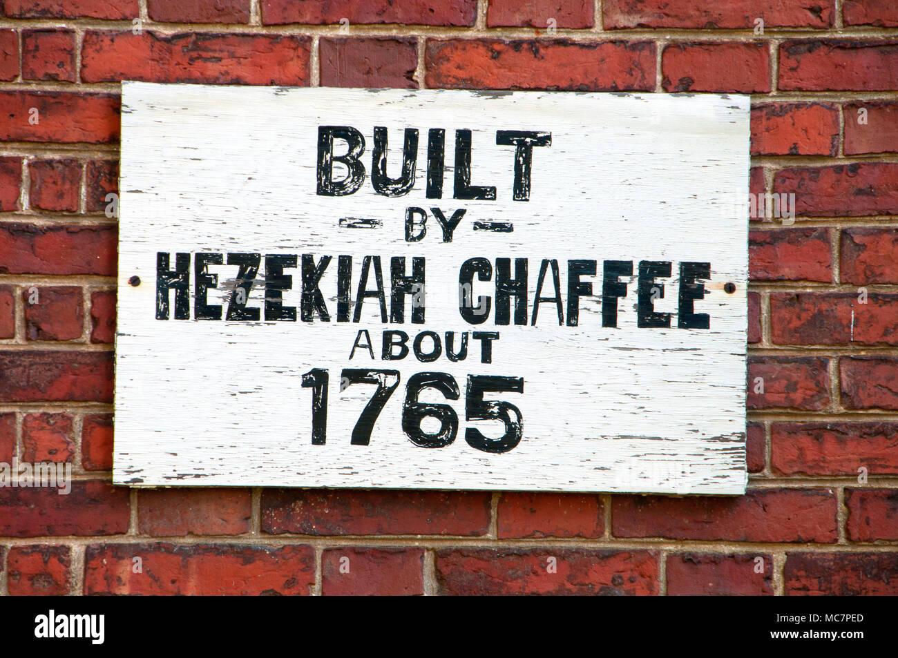 Chaffee House sign, Windsor Historical Society, Windsor, Connecticut - Stock Image