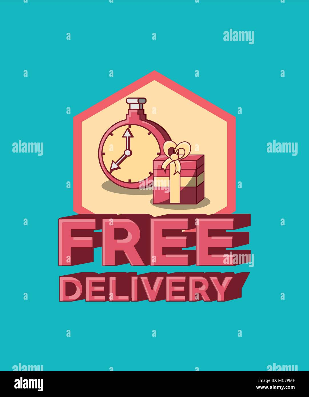 Free delivery design with chronometer and gift box over blue background, vector illustration - Stock Image