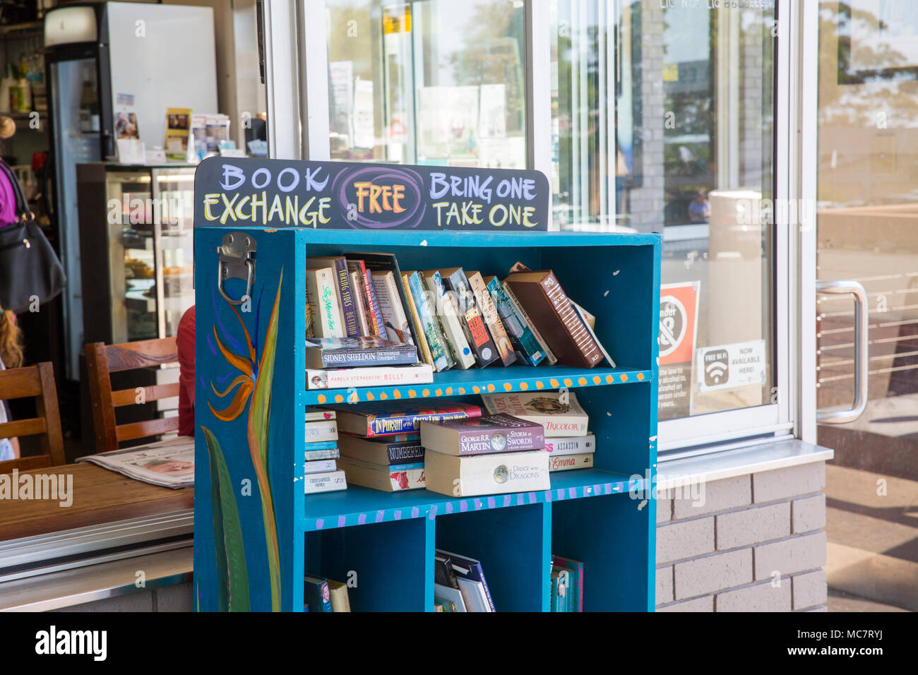 Book exchange bookshelves in Vincentia, Australia, bring a book and take a book - Stock Image