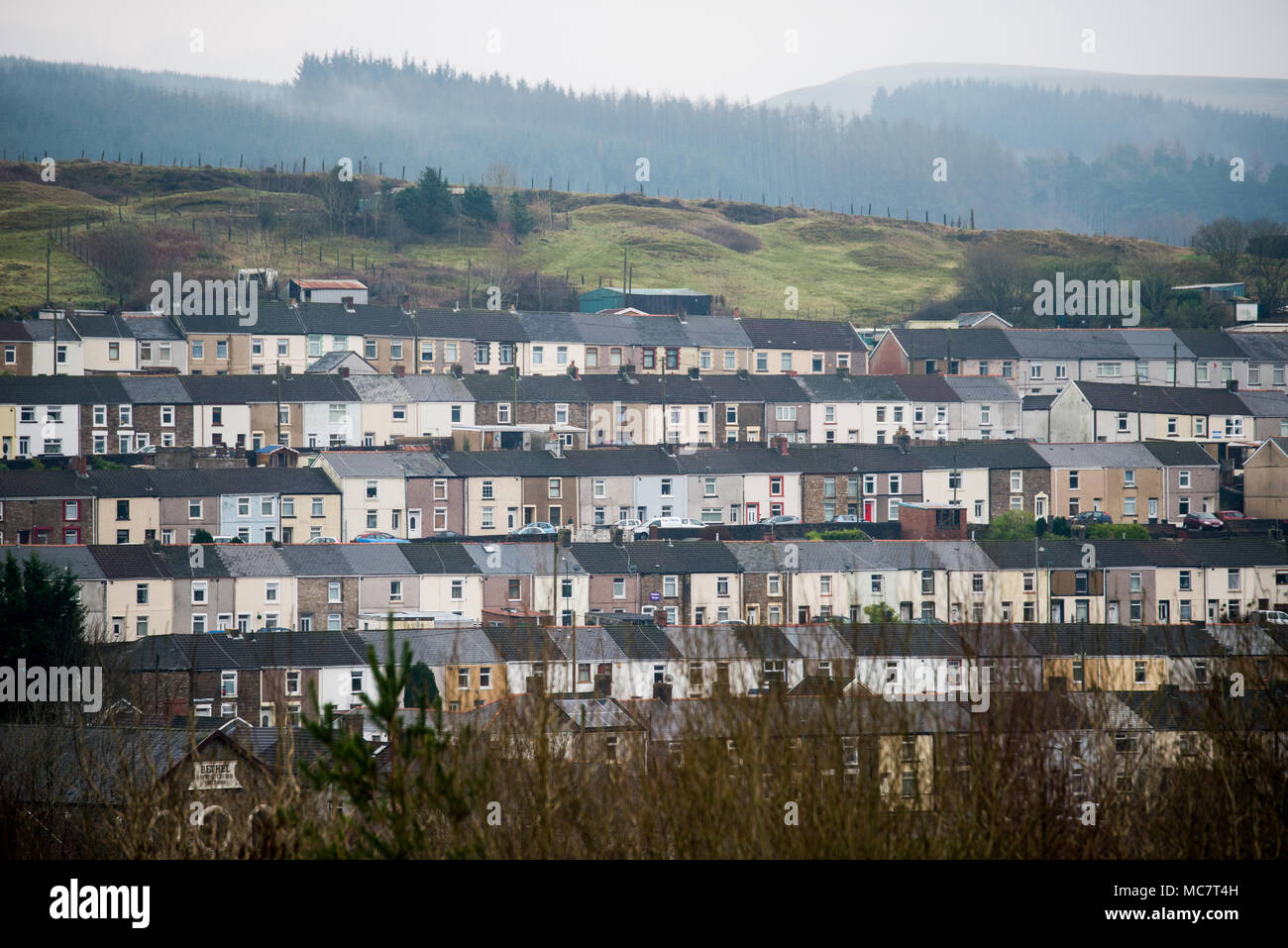 Tredegar Terraces in the South Welsh valleys. The seat of Aneurin Bevan, the architect of our National Health Service. - Stock Image