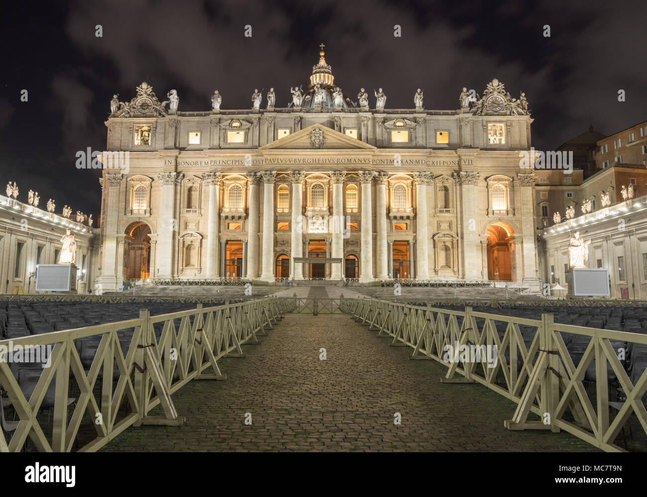 Entrance to St Peters Basilica at Easter - Stock Image