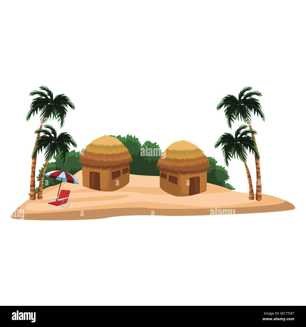 Huts at beach scenery - Stock Vector