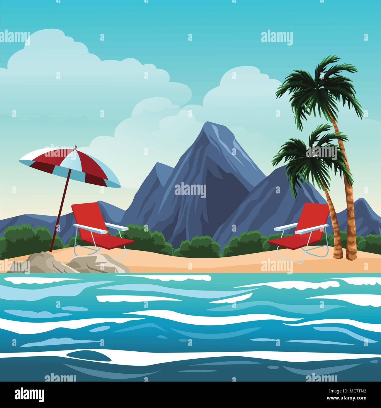 Beautiful beachscape scenery - Stock Vector