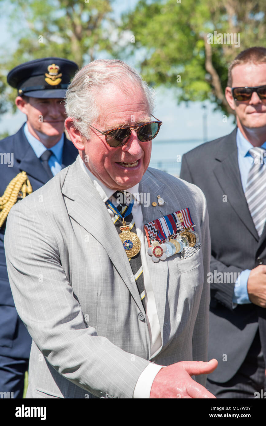 Darwinntaustralia april 102018 prince charles greeting people darwinntaustralia april 102018 prince charles greeting people after wreath laying ceremony at bicentennial park in darwinaustralia m4hsunfo