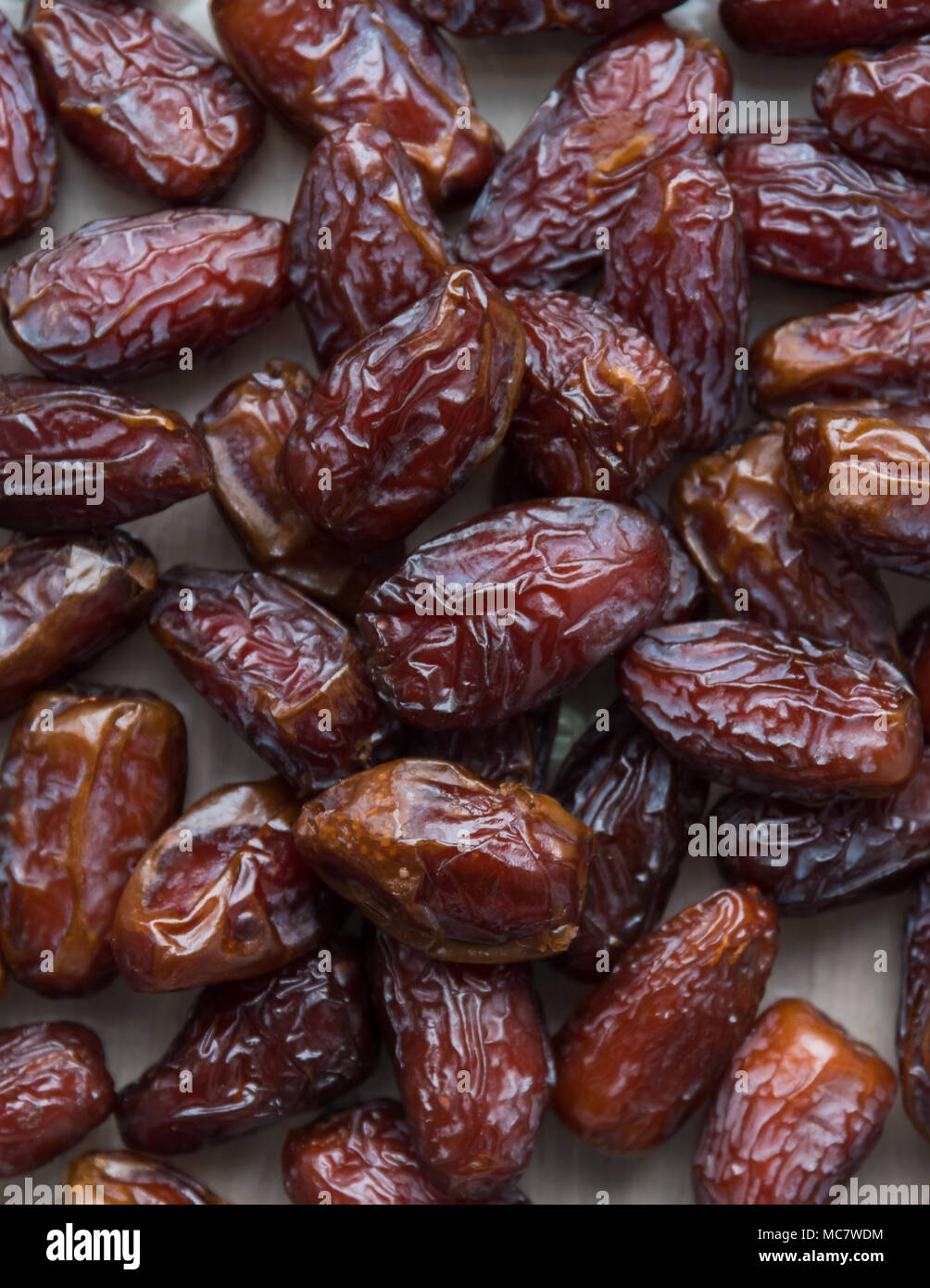 Close-up full-frame flat-lay of medjool dates - Stock Image