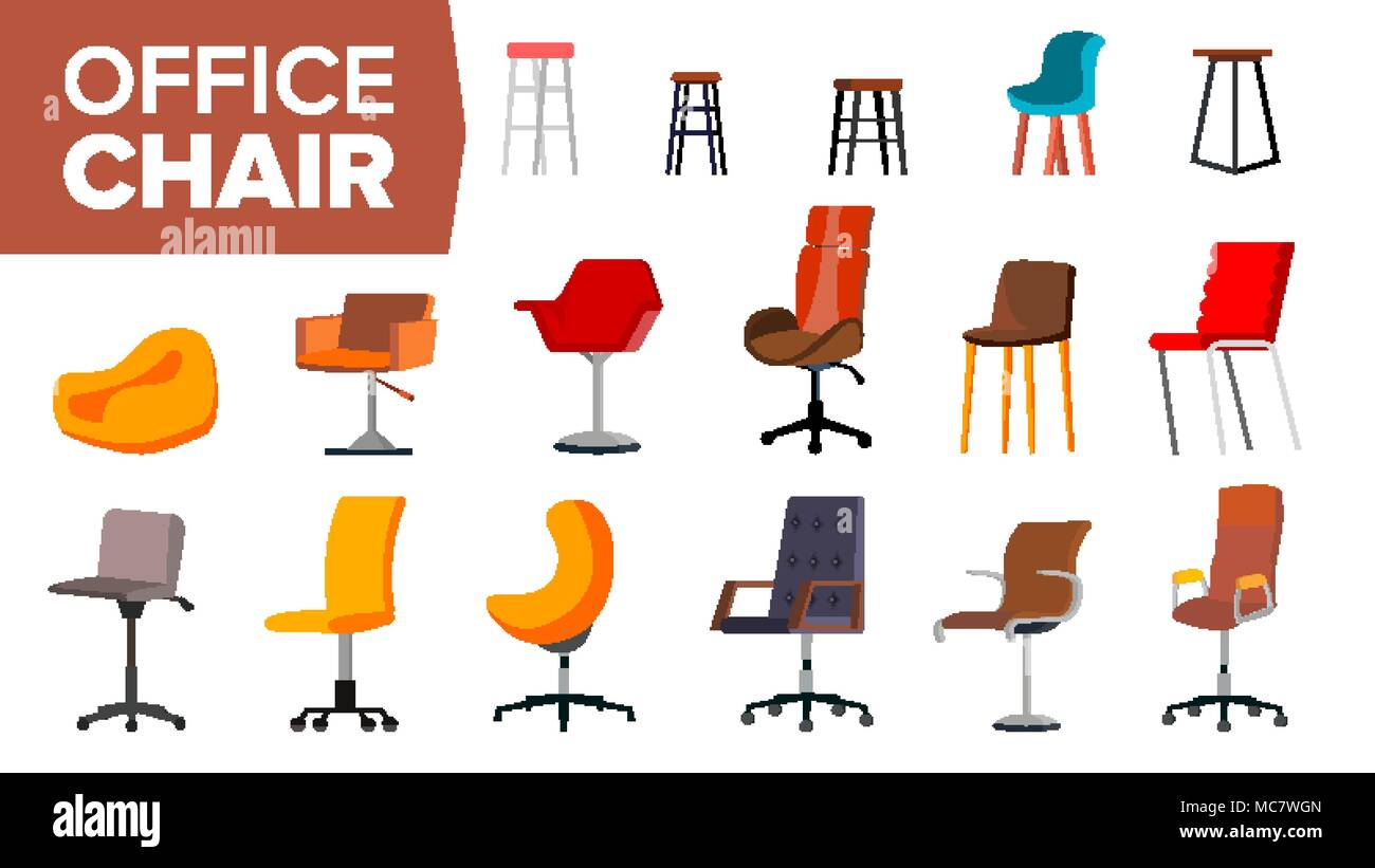 Chair Set Vector. Office Creative Modern Desk Chairs. Interior Seat ...