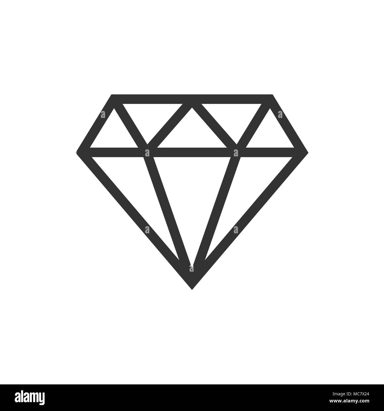 Diamond jewel gem vector icon in flat style. Diamond gemstone illustration on white isolated background. Jewelry brilliant concept. - Stock Image