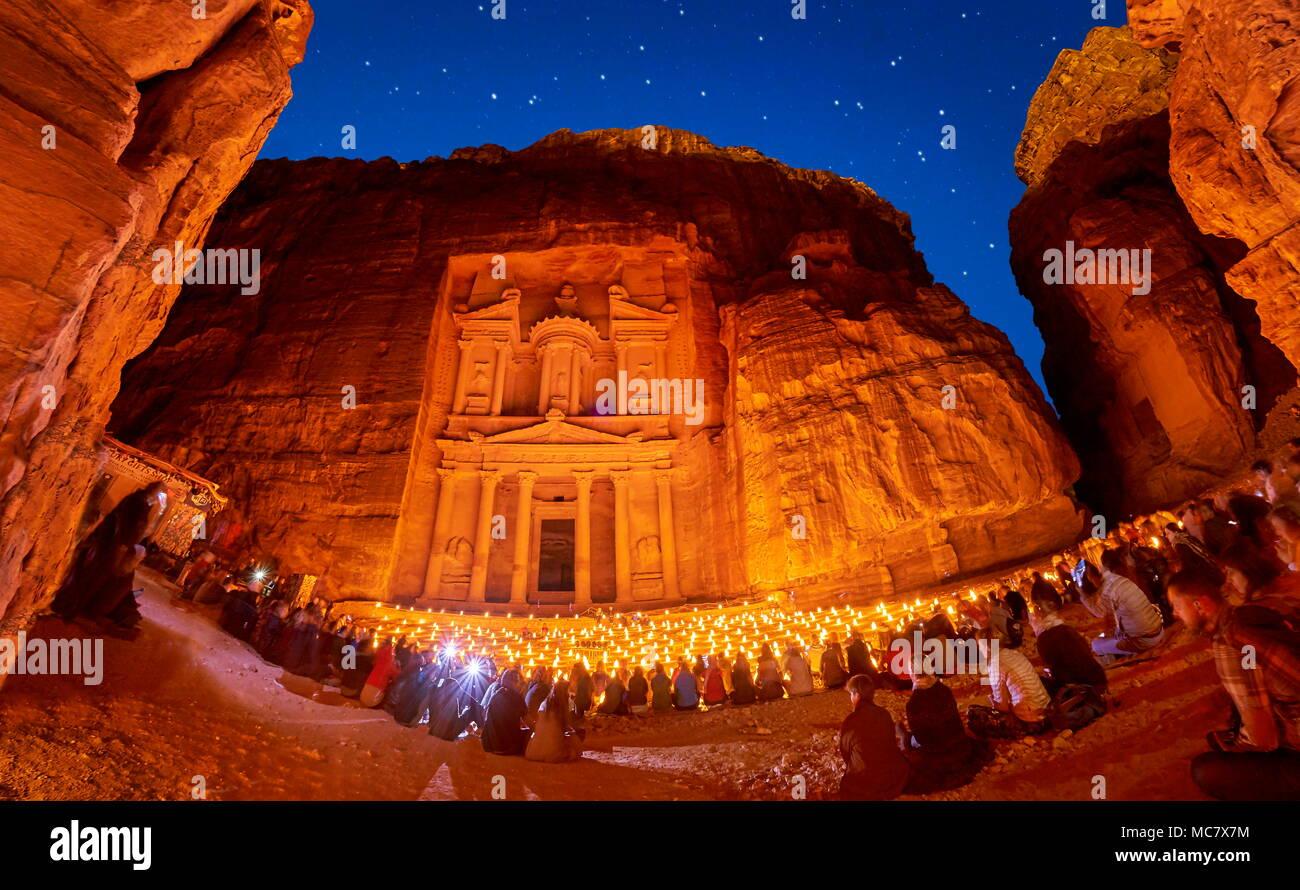 Petra by night, the Treasury Al-Khazneh, Petra, Jordan - Stock Image