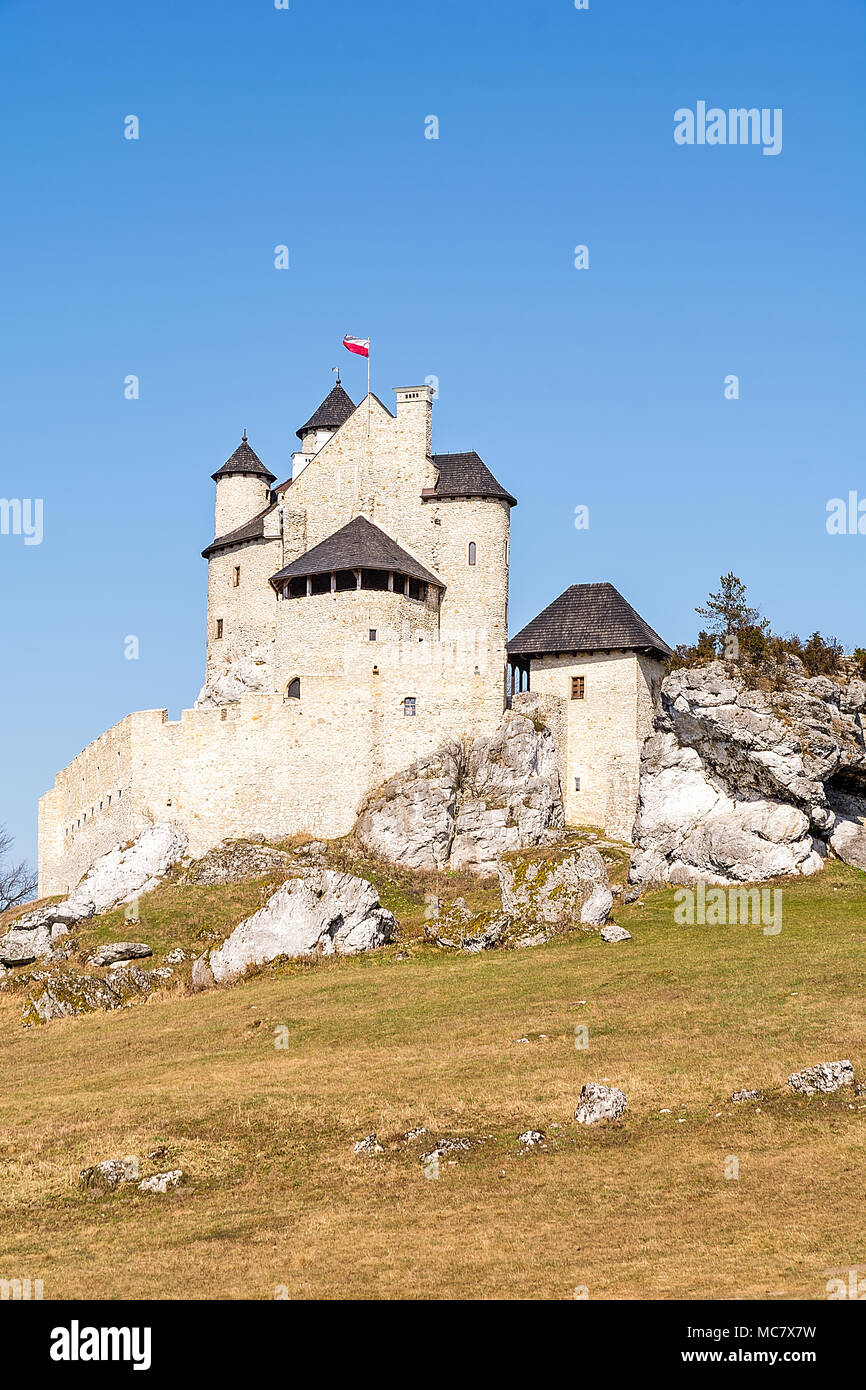 Castle in Bobolice (Poland) from the half of the 14th century. The fortress was completely rebuilt and reconstructed from 2002-2011. - Stock Image