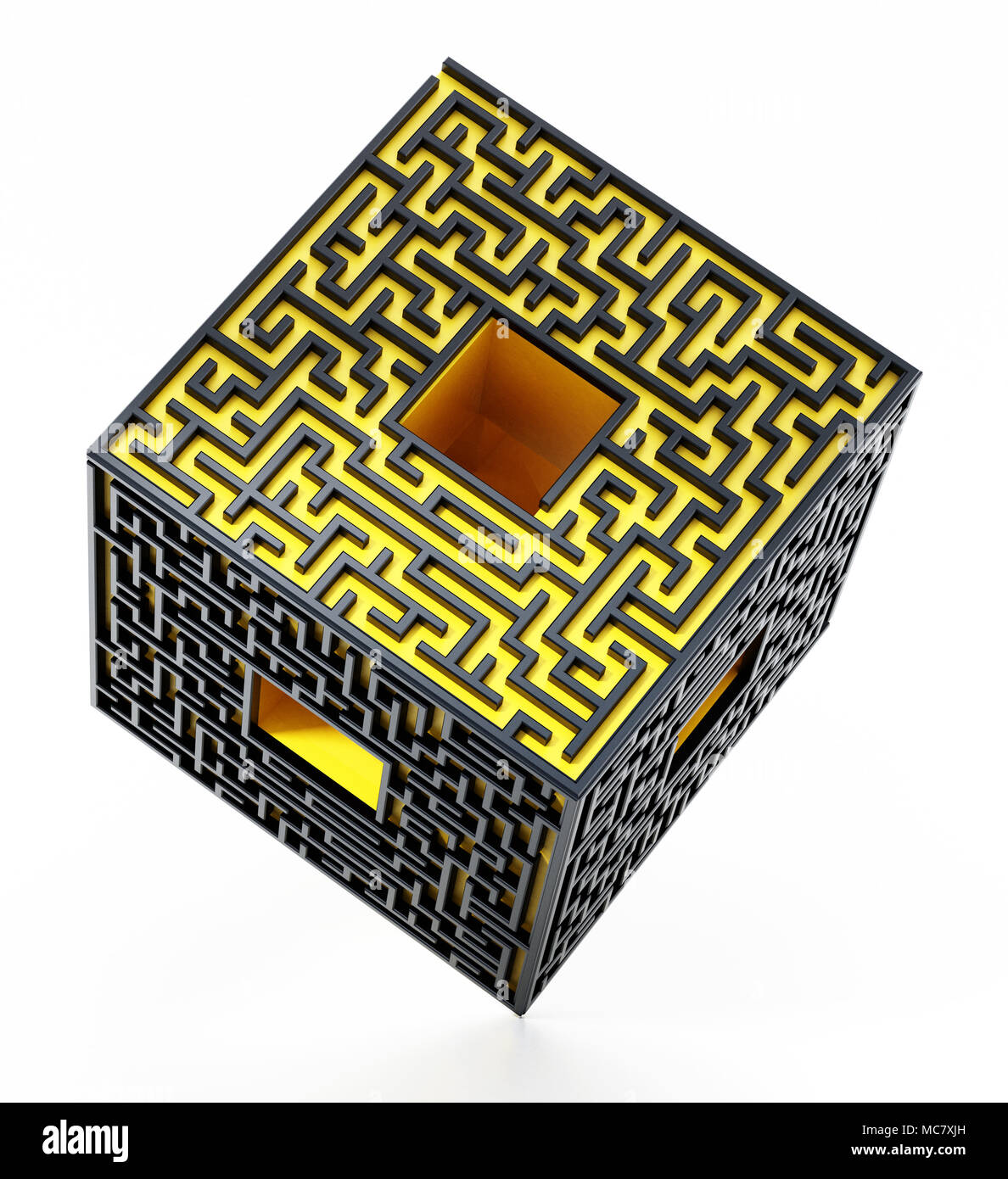 3D cube with labyrinth walls on the sides. 3D illustration. - Stock Image