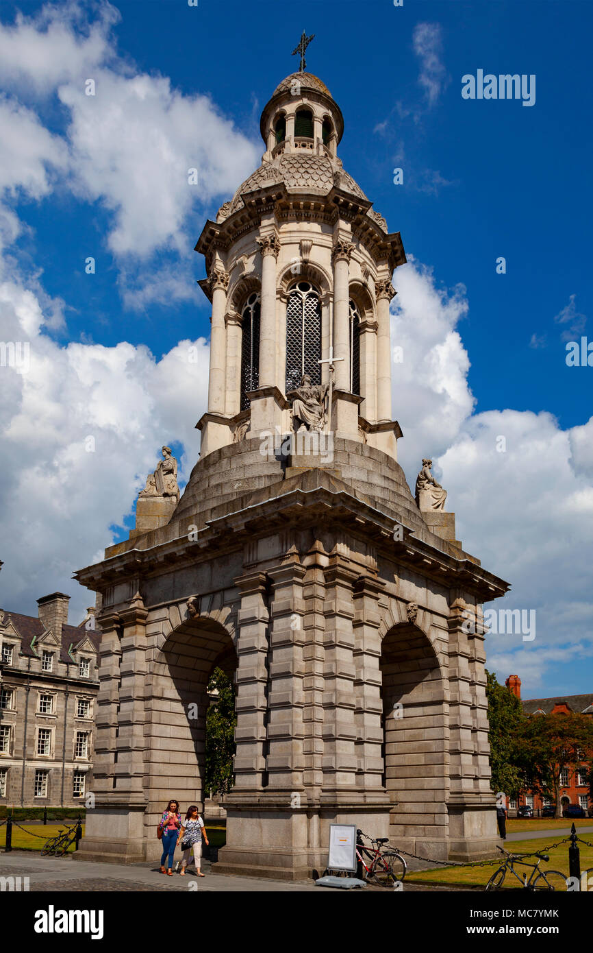 The Campanile, Trinity College (College of the Holy and Undivided Trinity of Queen Elizabeth), Parliament Square, Dublin, Ireland - Stock Image