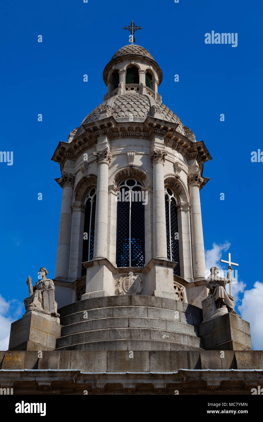 The Campanile, Trinity College (College of the Holy and Undivided Trinity of Queen Elizabeth), Parliament Square, Dublin, Ireland, top level - Stock Image