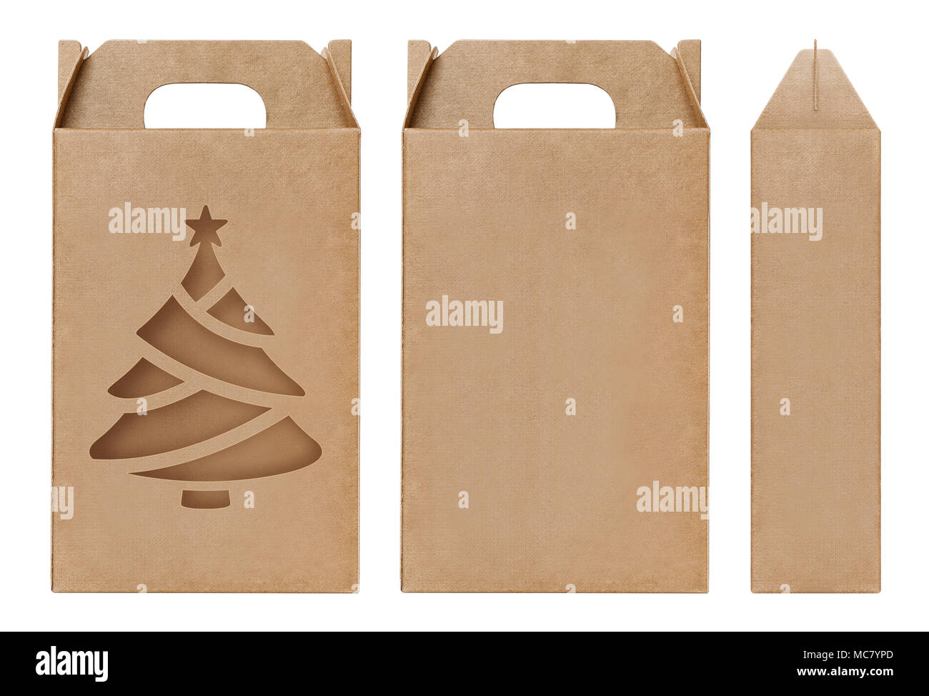 Box Brown Window Christmas Tree Shape Cut Out Packaging Template Empty Kraft Cardboard Isolated White Background Boxes Paper Natural