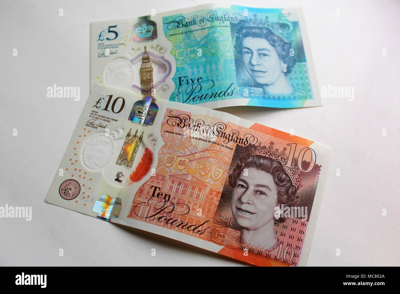 New Five and Ten Pound Bank of England Polymer Plastic Notes - Stock Image