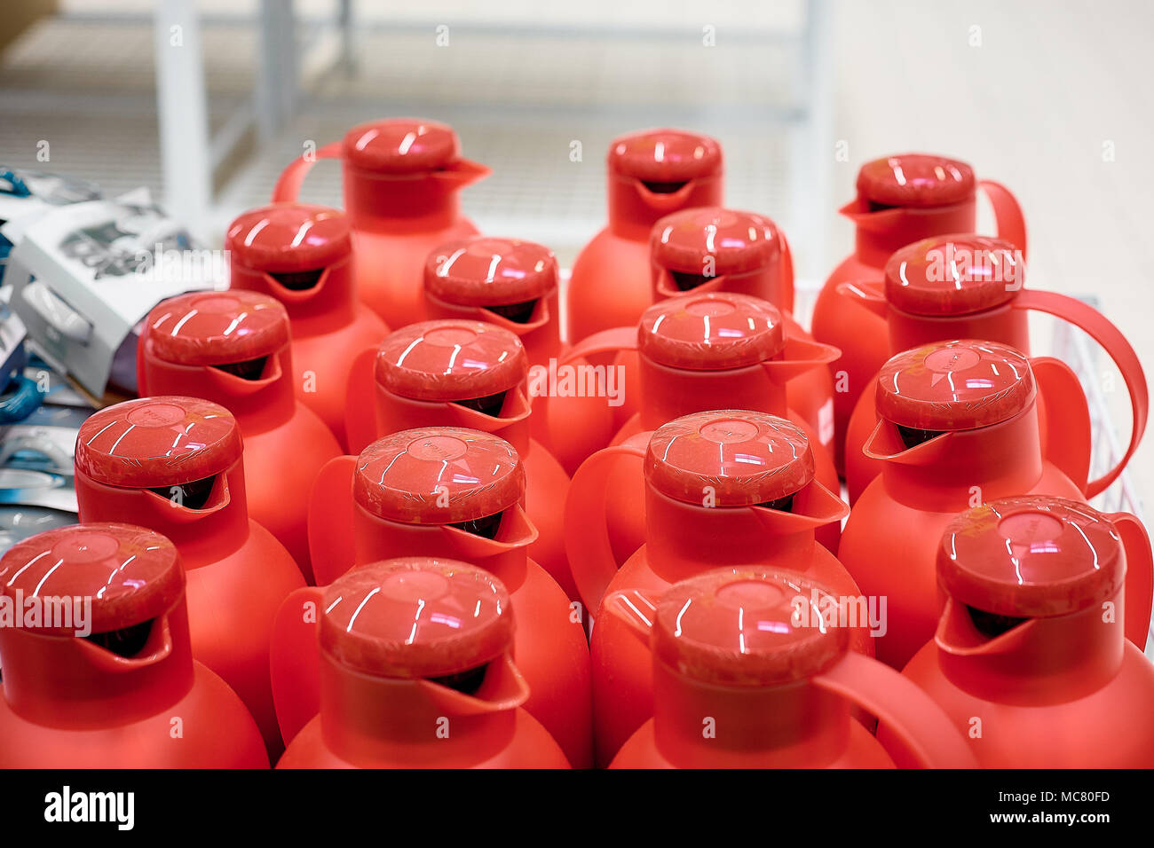 set of red plastic bottle cap isolated on white background - Stock Image