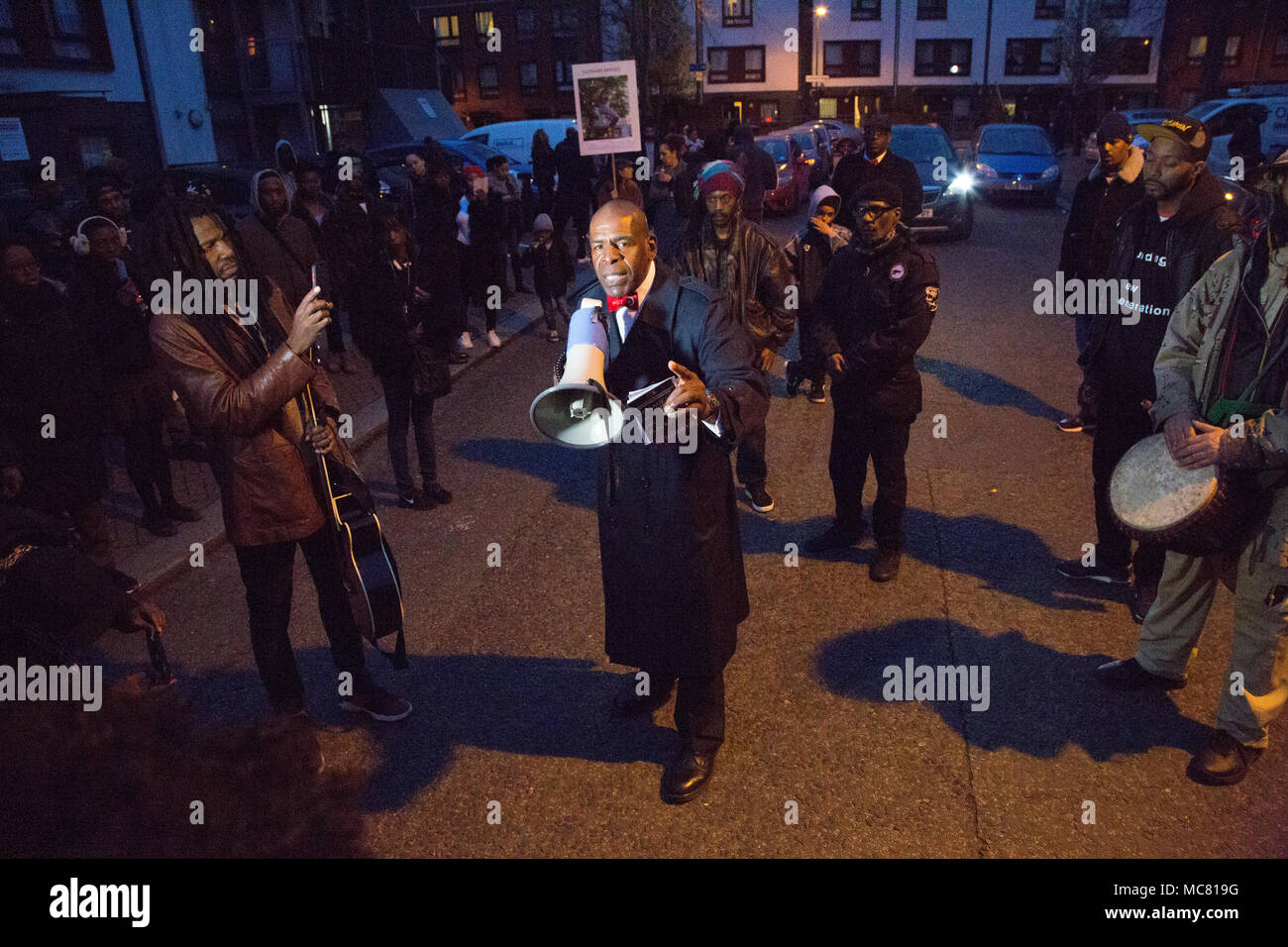 London UK 13th April 2018  A member of the Nation of Islam speak as local people gather in Harlesden northwest London under the Guiding A New Generati - Stock Image