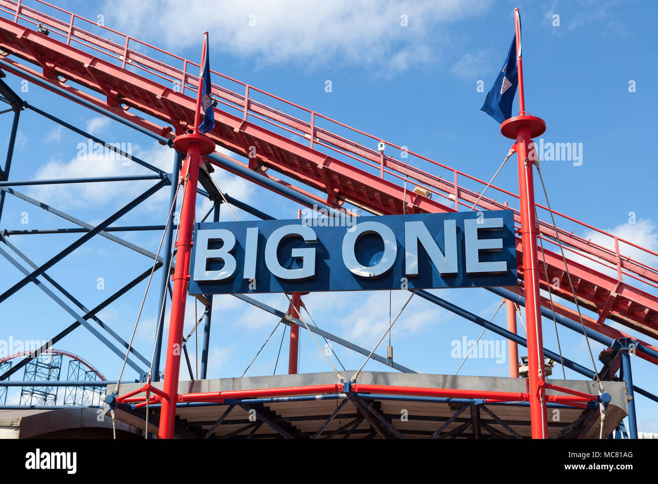 Detail of The Big One, a roller coaster at Blackpool Pleasure Beach, UK. - Stock Image