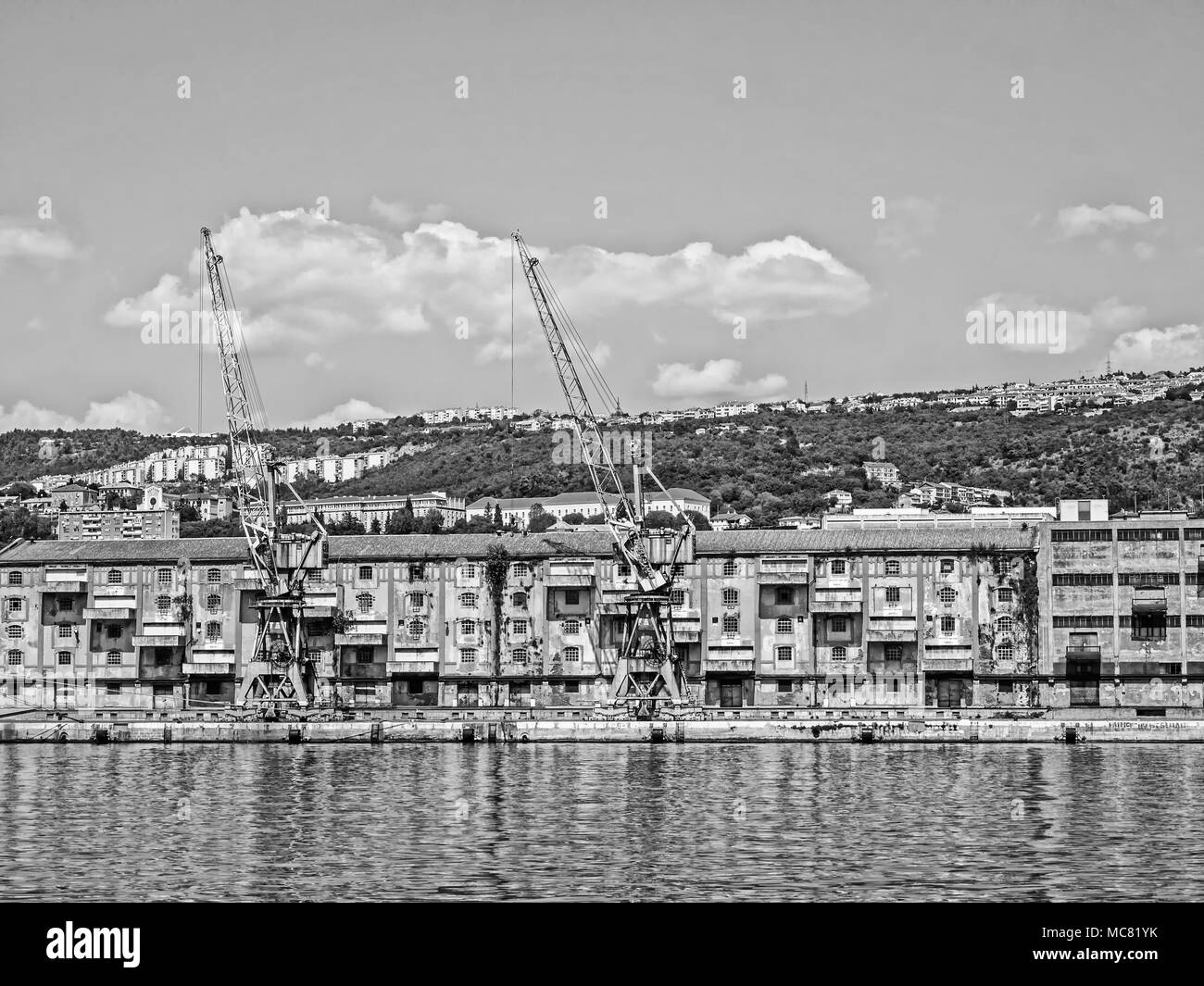 Old warehouse and cranes in the port of Rijeka, Croatia, in monochrome - Stock Image