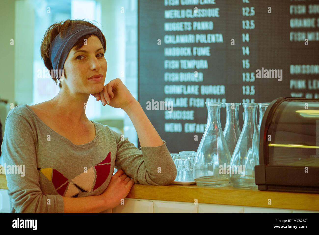 Cafe owner, portrait - Stock Image