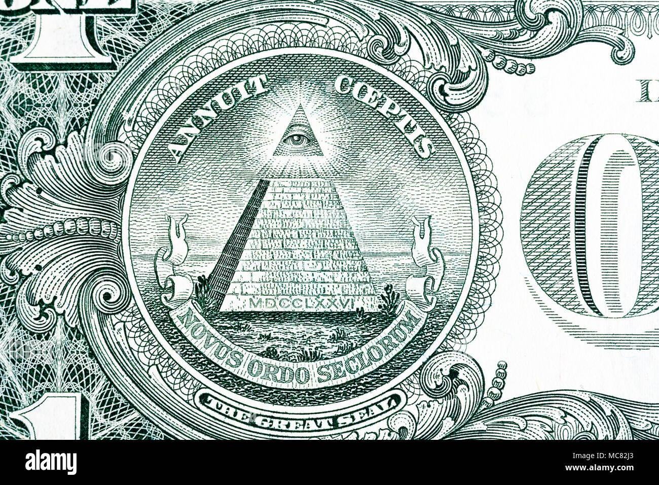 Part of one dollar note with great seal a macro shot. - Stock Image