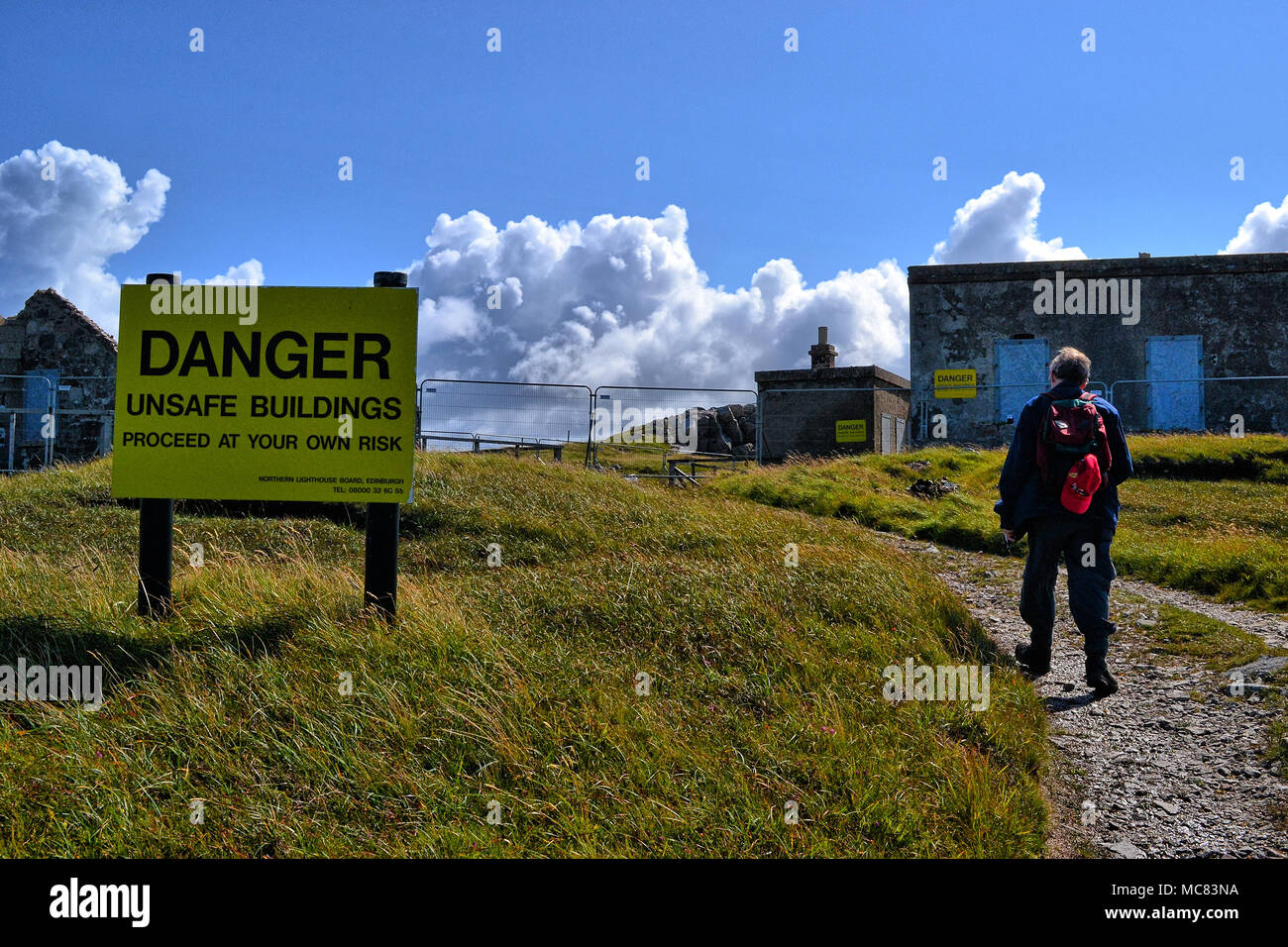 Unsafe military buildings on Cape Wrath, Highlands, Scotland - Stock Image