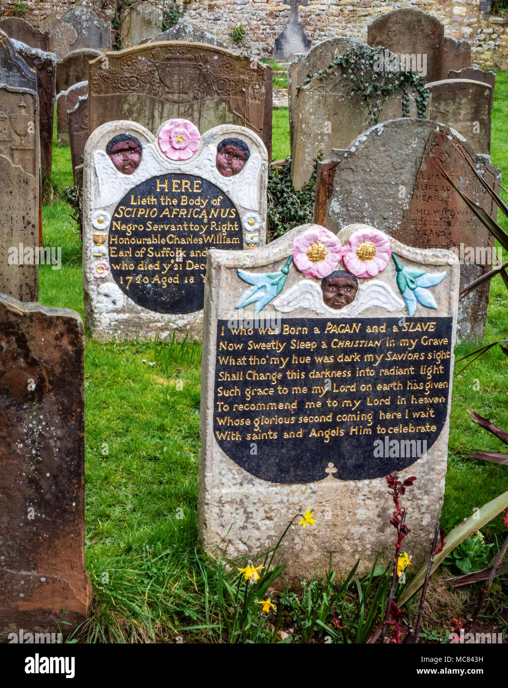 The grave of revered eighteenth century black slave given the name Scipio Africanus in St Mary's Henbury churchyard Bristol UK - Stock Image