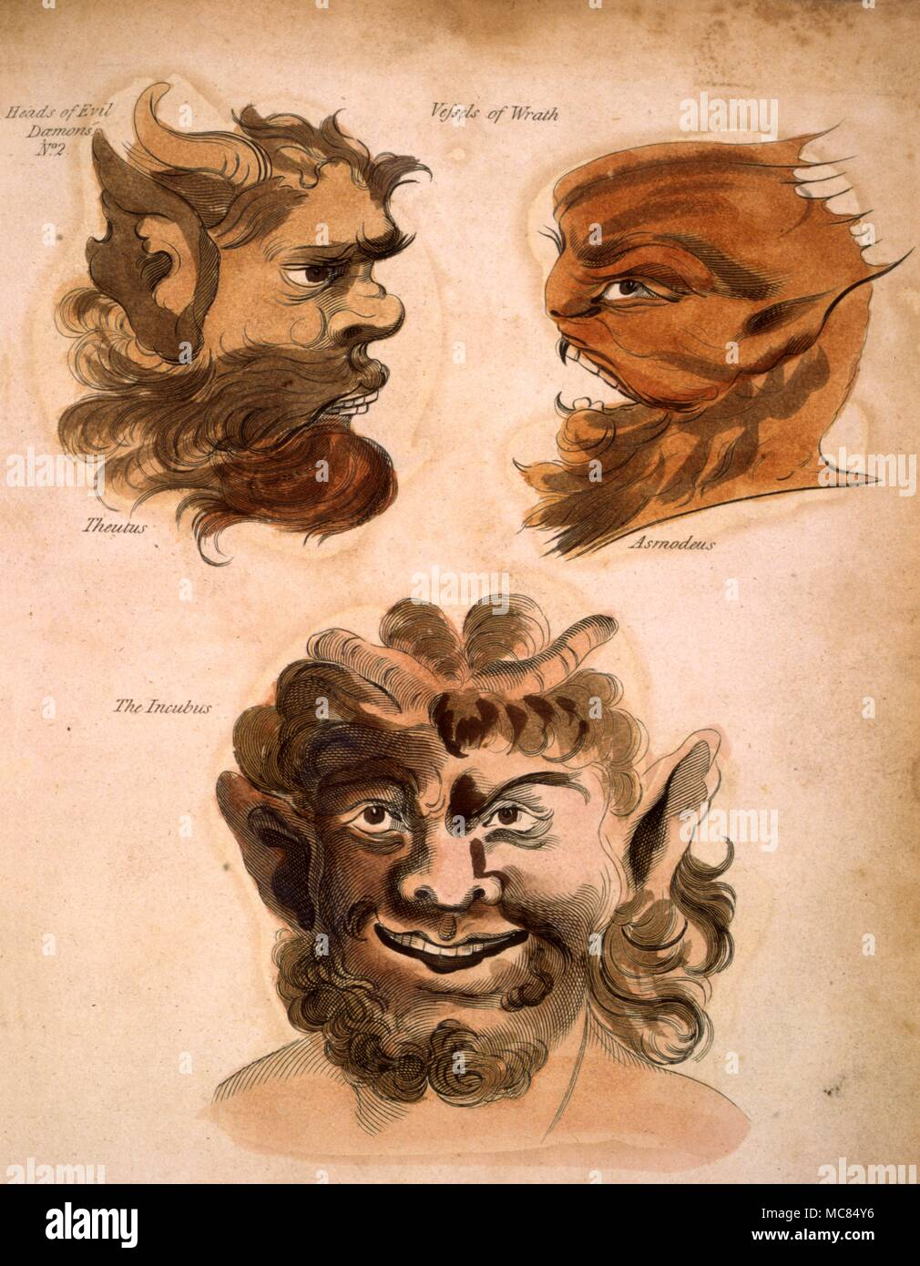 Faces if Conjured Demons 'Vessels of Wrath', portayaed by Francis Barrett, who named the demons.  From Barrett's 'The Magus, or Celestial Intelligencer', 1801. - Stock Image