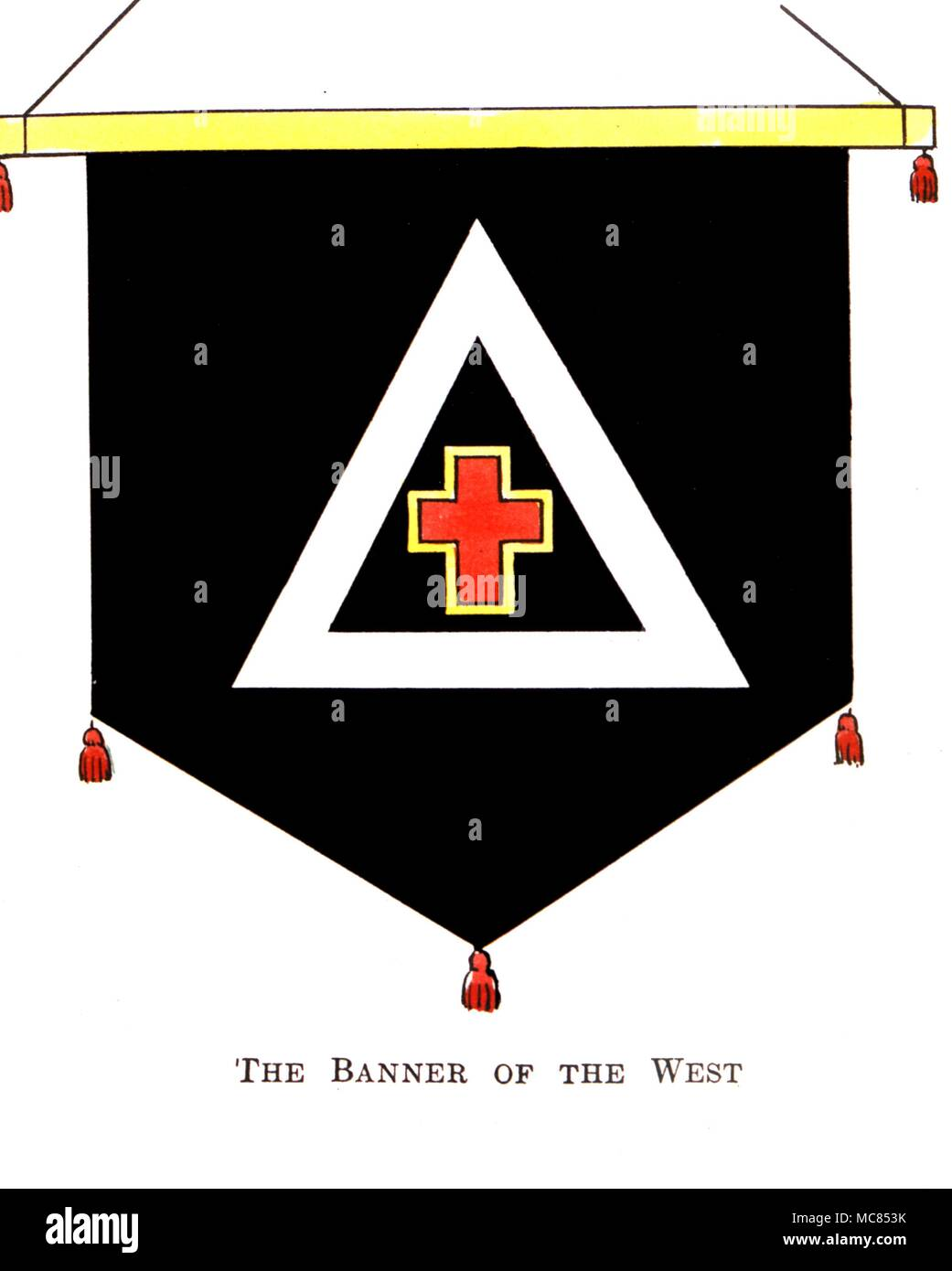 The Banner of the West Symbols from 'The Golden Dawn' an account of the Teachings, Rites and Ceremonies of the Order of the Golden Dawn' by Israel Regardie, 1937 - Stock Image