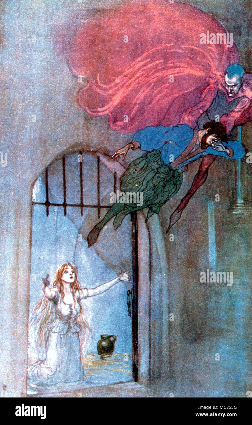 Demons The prison scene from Goethe's Faust. Scene from Goaethe's play 'Faust' in the translation by A. Hayward. Illustrated by Willy Pogany, 1908. - Stock Image