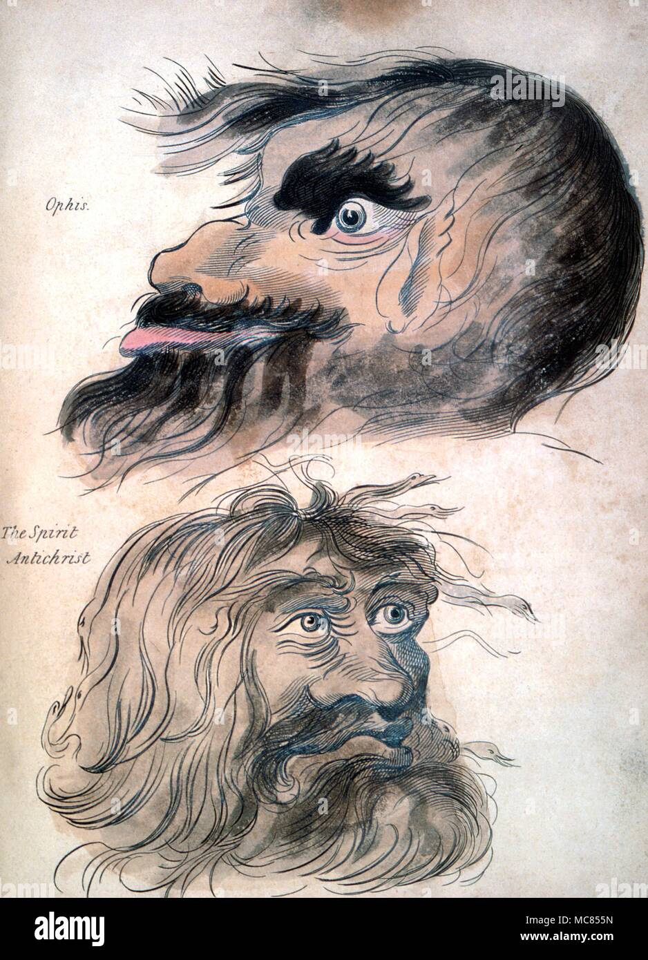 Demons Faces of Conjured Demons Three named demons, from a hand-coloured plate in Francis Barrett's The Magus, or Celestial Intelligencer of 1801. - Stock Image