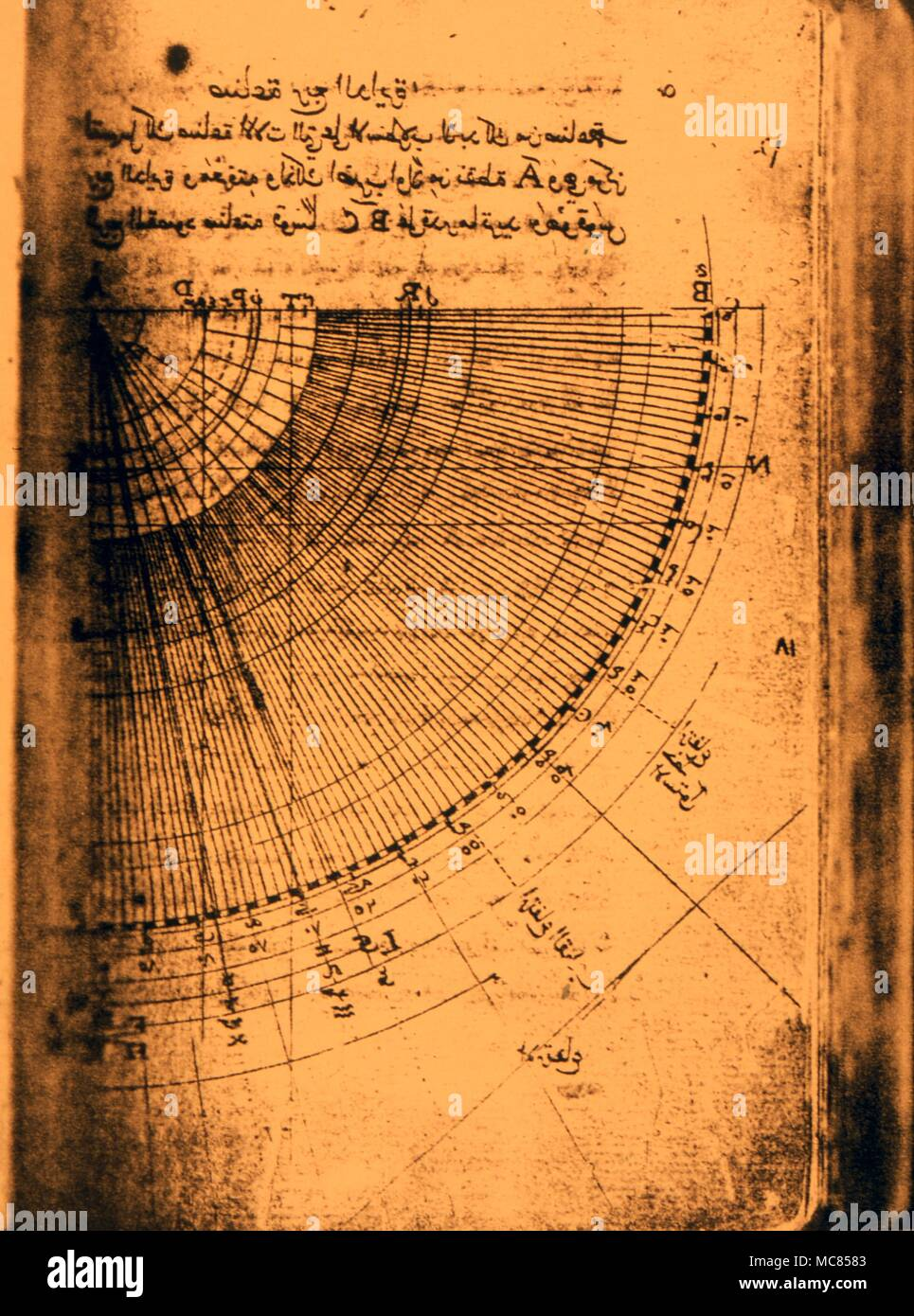 Astrology, astrolabes. 'The Book of Making an Astrolabe' an Arabic manuscript dated 1641, with interesting diagrams of the various components of the astrolabe. Lisbon, with text in Arabic and Latin Stock Photo