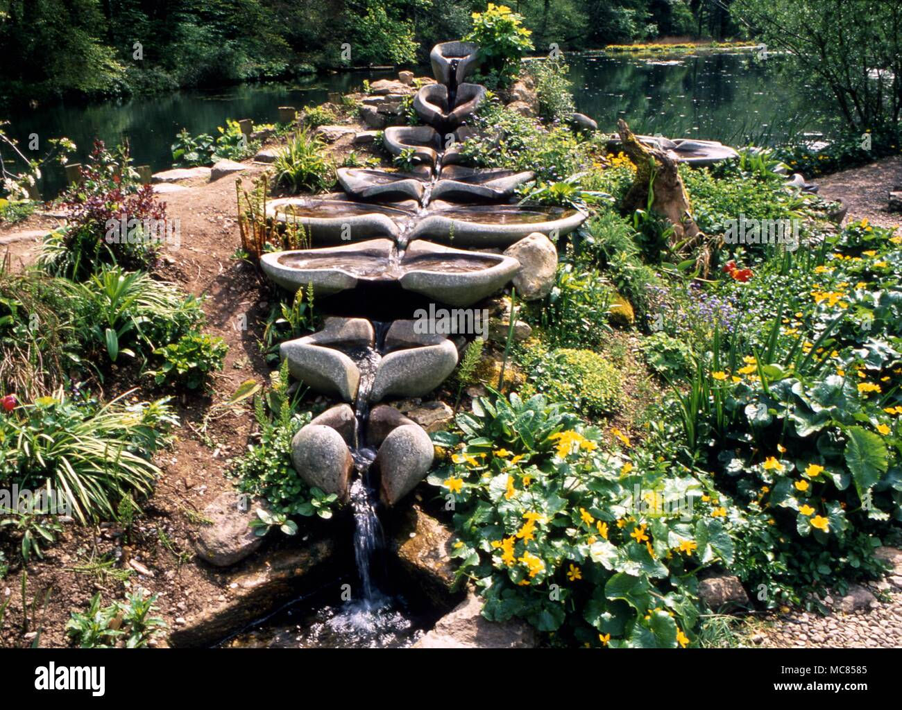 Anthroposophy Water flows, designed according to the principles set out by the great esotericist Rudolf Steiner.  1861-1925, in the private gardens of Ruskin House near Stroud - Stock Image