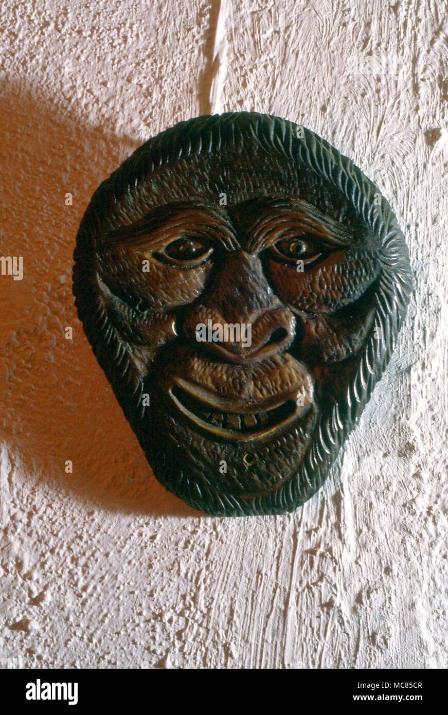 Witchcraft  Wooden 'demonic' face wooden mask, used in