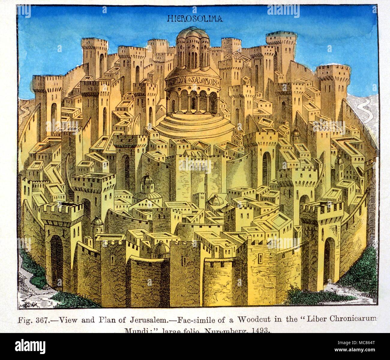 CHRISTIAN Stylised view of Jerusalem - from Schedel's 'Liber Chronicarum', 14993 - Stock Image