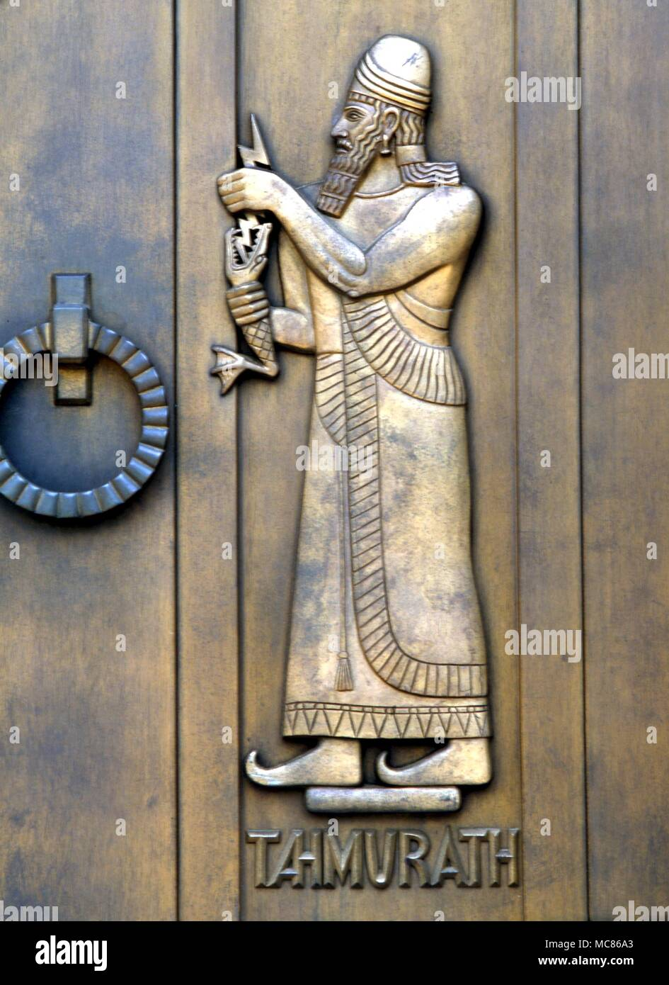 ... Persian Tahmmurath with a lightening bolt and fish-like monster (the two together forming an initiation symbol). Sculpture by Lee Laurie on the doors ... & Babylonian mythology - Tahmmurath The Persian Tahmmurath with a ...