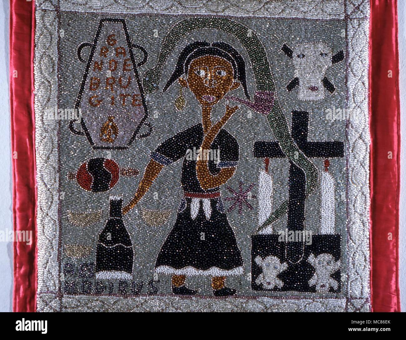 VOODOO ART VOUDOUN ALTAR CLOTH WITH VARIOUS CLASSICAL SYMBOLS