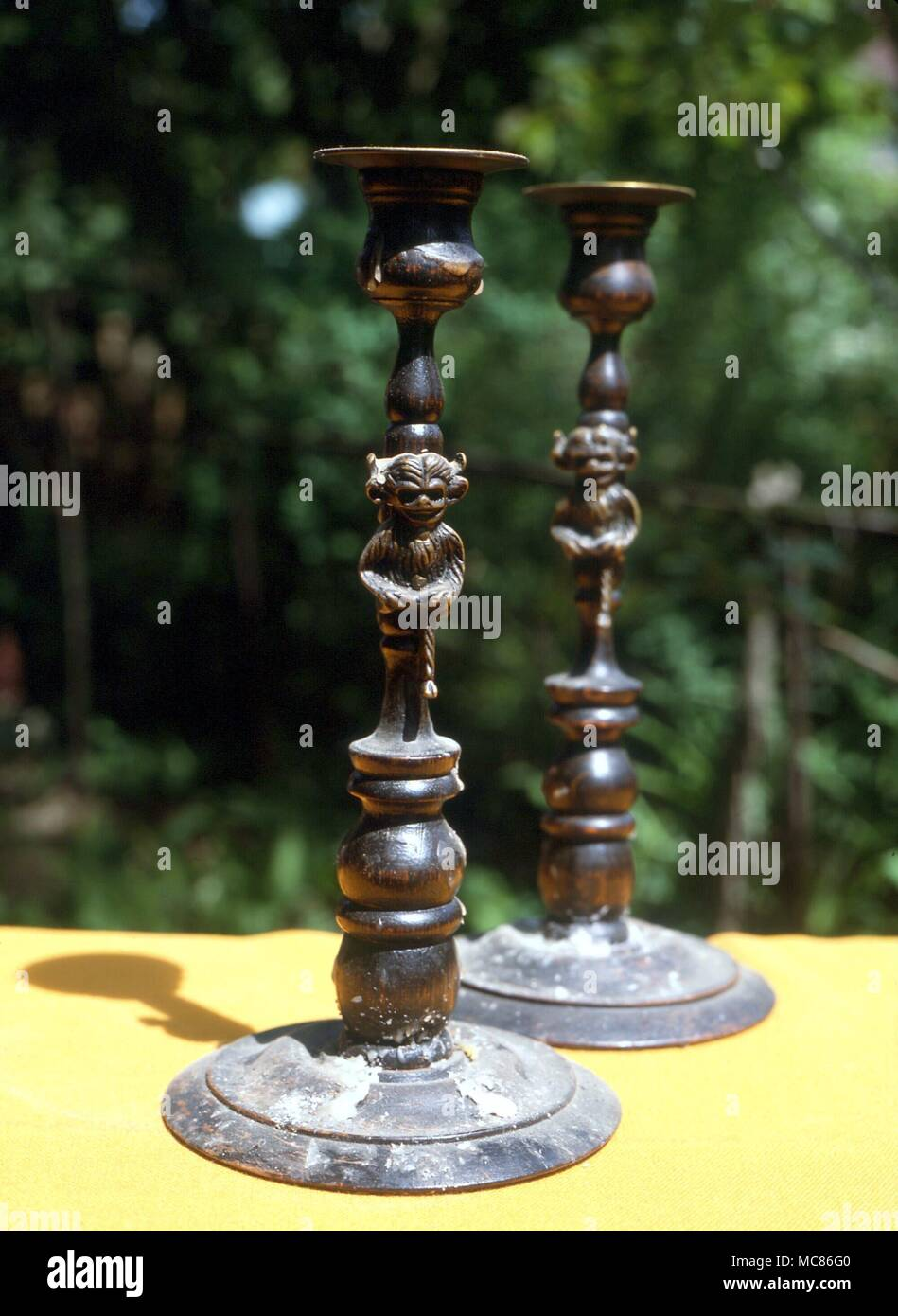 Wiccan candleholders Candle holders with image of the so-called Lincoln demon on stem.  This candleholder is used in wican rituals.  private collection, Toronto - Stock Image