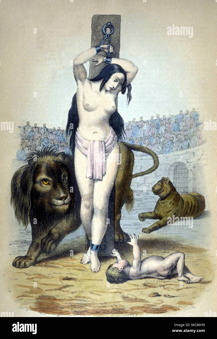 Torture Christian woman bound to a stake in the Roman Amphitheatre to suffer martyrdom.  From Louis Marie de Cormenin, The Public and Private History of the Popes of Rome, c.1830 - Stock Image