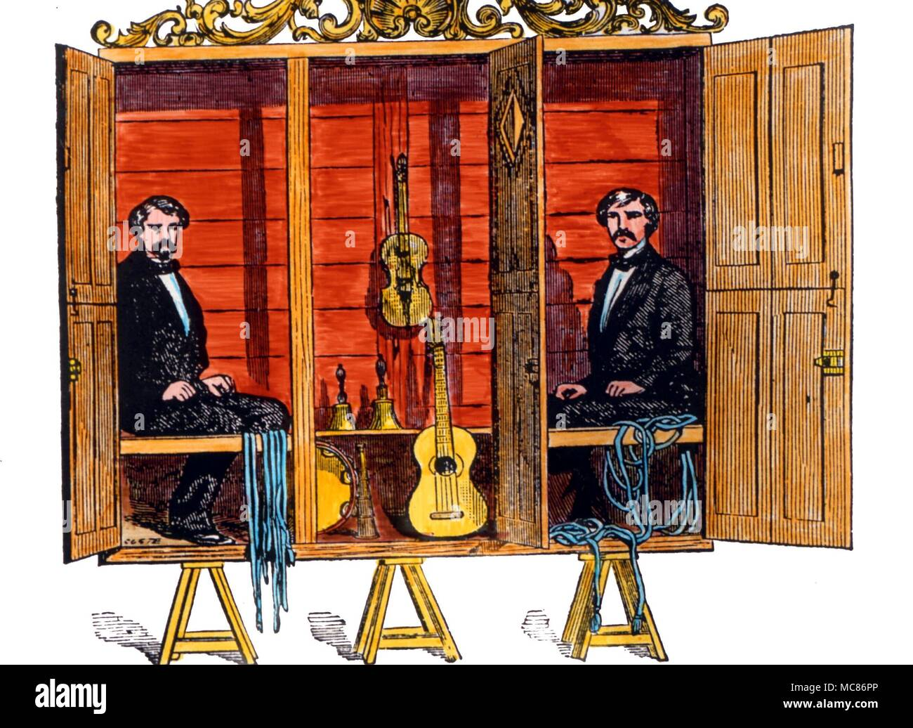 Psychic Phenomena The Davenports William Henry Davenport (died 1877) and Ira Davenport (died 1911) were brothers who began a mediumistic-like stage show, circa 1859.  This was widely imitated in Victrorian stage and seance rooms.  The Davenports never claimed to be genuine mediums.  Later imitators cliamed mediumistic ability, however - Stock Image