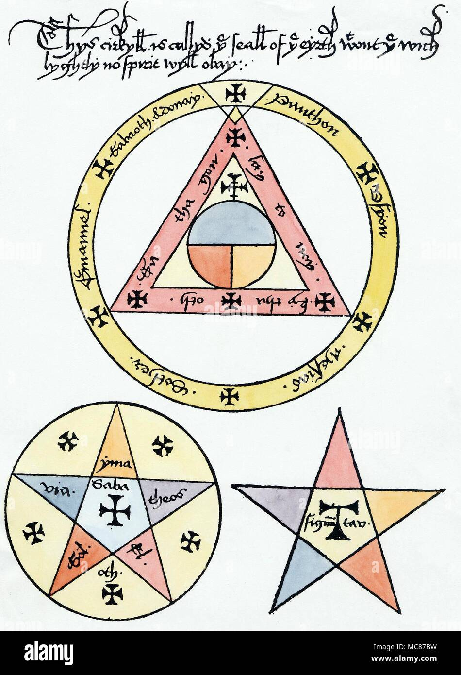 SYMBOLS - PENTAGRAM - PENTAGON  Three magical symbols from a 14th century manuscript grimoire, designed to reveal a design which no spirit (when conjured, or otherwise) might penetrate, to reach the magician within.  [Top]  Within the encircled triangle is the symbol of the World, divided into three parts (the three 'continents' of  Europe, Africa and Asia, in the ancient world maps), with the Cross marking the fabled place of the Garden of Eden, to the East.  The centre of this world symbol is supposed to be Jerusalem, so this entire figure is centred on this city.  [Below left]  The encircle Stock Photo