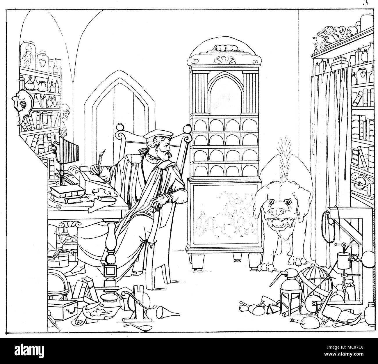 DEMONS - FAUST - MEPHISTOPHELES Faust in his study, surrounded by alchemical apparatus and books:  he is attempting to translate the first verses (presumably the first 14 verses) of the Gospel of St. John.  The intruding monstrous poodle (see previously on the heath) is the appearance of Mephisopheles, making its way into the study.  Faust's magic power  is not sufficiently strong to banish the creature.  Mephistophles emerges from the dog, in human form.  Engraving No. 3 in Umrisse Goethe's Faust.  Gezeichnet von Moritz Retsch, 1836. There were two distinct early editions of the Retsch series - Stock Image