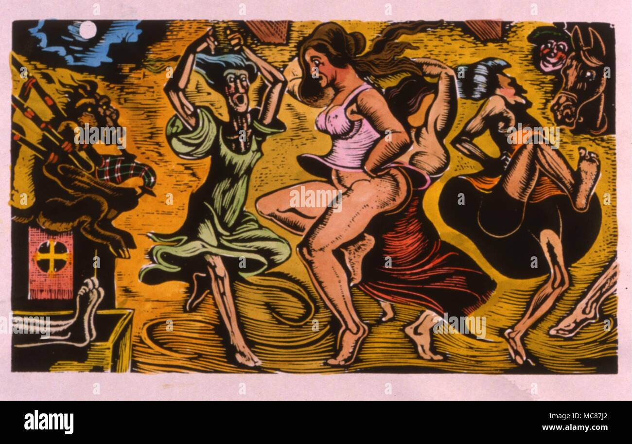 Witches dancing to the skirl of the devil's bagpipes.  Hand-coloured print afer the woodengraving by D.P. Bliss. - Stock Image
