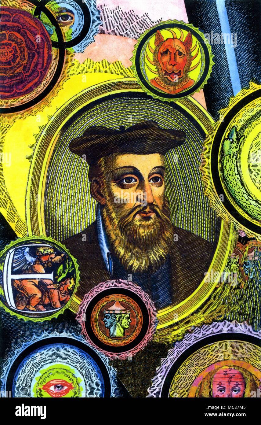 Portrait of Nostradamus (circa 1620) within a decorative surround of arcane symbols relating to his prophecies. Stock Photo