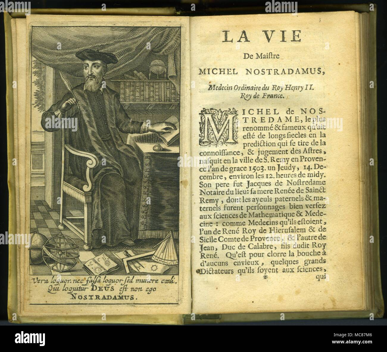 Frontispiece to the 'Life' of Nostradamus in the 1668 Amsterdam edition of  'Les Propheties' published by Jean Iansson. From the library of David  Ovason.